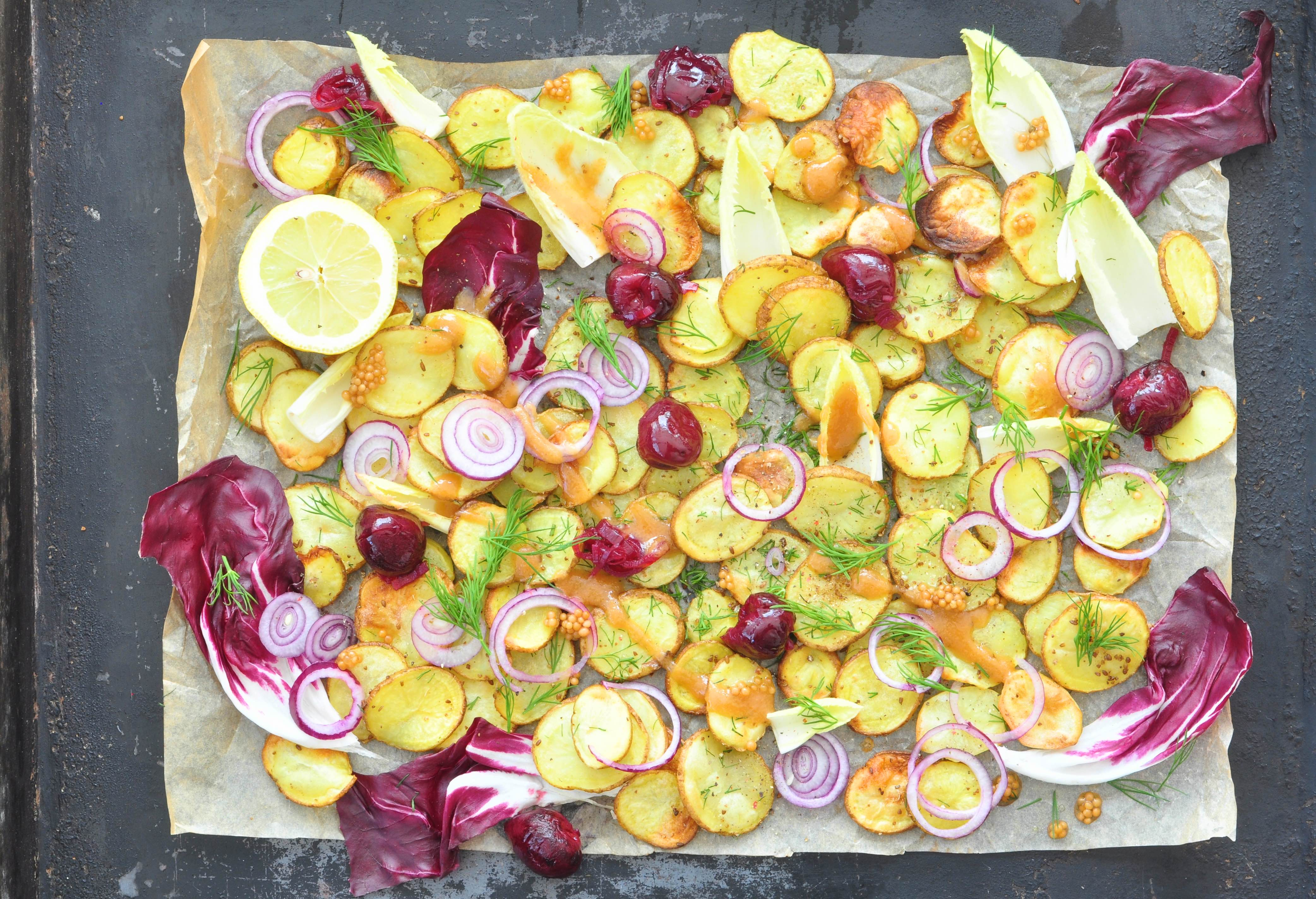 Roasted_new_potatoes_with a_cherry_relish_and_pickled_mustard_seeds